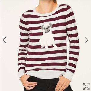 LOFT Outlet Maroon Striped Pug Sweater Size Large
